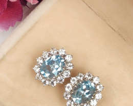 Stylish Natural Blue Topaz And Topaz Sterling Silver 925 Earring