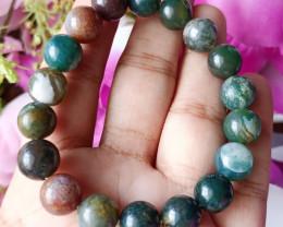Natural 10mm Indian Agate  Handmade Bracelet 100% Natural Unheated