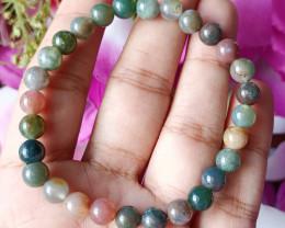 Natural 7mm Indian Agate  Handmade Bracelet 100% Natural Unheated