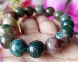 Natural 12mm Indian Agate  Handmade Bracelet 100% Natural Unheated