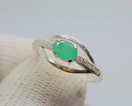 Natural Green Emerald Silver Ring