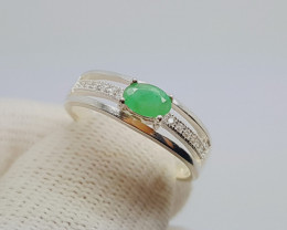 Beautiful Emerald Ring In Sterling Silver