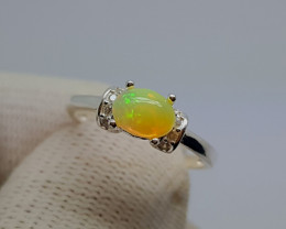 Natural Multi Fire Opal Silver Ring