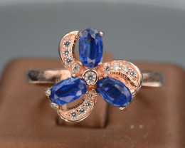 AAA Gorgeous Natural Kyanite & CZ, Rose Gold Plating Silver Ring