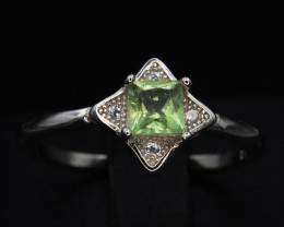 Natural Tourmaline 9.80 Cts and CZ Silver Ring