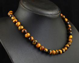 Genuine 256.00 Cts Tiger Eye Necklace
