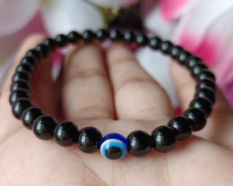 Natural Single Eye Black Onyx  Handmade Bracelet 100% Natural Unheated