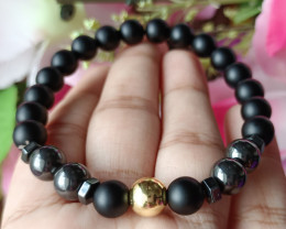 8mm Hematite & Black Matte Agate Triple Protection Bracelet