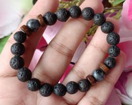 Natural Volcano & Black Labradorite Handmade Bracelet Unheated