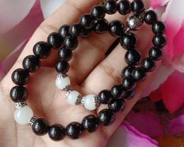 Mom & Baby Bracelet Black Agate & White Quartz Handmade Bracelet 100% Unhea