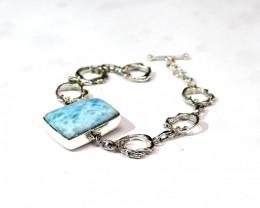 Excellent Natural Light Blue Larimar .925 Sterling Silver Bracelet 6,7 or 8