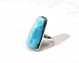 Impressive Natural Sky Blue Larimar .925 Sterling Silver Ring #10