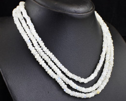 Genuine 310.00Cts  3 Line Moonstone  Necklace