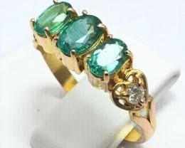 18k Gold Ring   Hand Made   Natural Zambian Emerald   Natural Daimond  