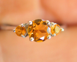 12.2 Tcw. Brazilian Citrine 14K White Gold Plated Ring - Gorgeous