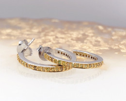 Channel set flanked Yellow Diamond Sterling  Silver 925 Earring