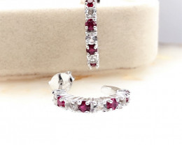 Stylish Natural Burma Red Ruby And Topaz Sterling Silver Earring