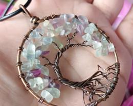Natural Beautiful Fluorite Tree Handmade Pendant Antique Design