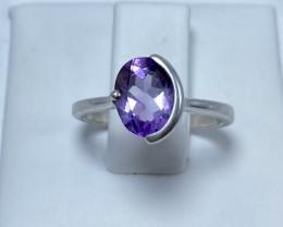 Unique Amethyst Ring  Silver