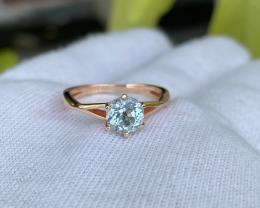 gorgeous natural 1.3 crt aquamarine 92.5%  pink silver ring