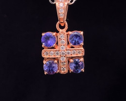 Natural Tanzanite Pendant with White CZ in Rose Gold  Silver 925.