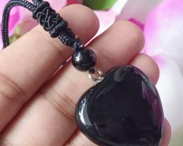 Natural 925 Silver Heart Shape Black Onyx Gold Plated Handmade Pendant