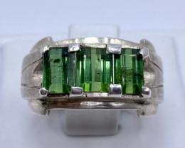 Unique Design Green Tourmaline Ring