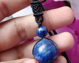 Natural Ball Lapis Lazuli Handmade Pendant 100% Natural Unheated