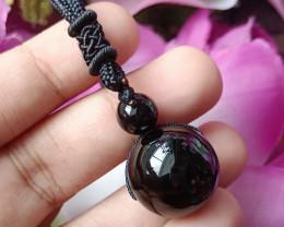 Natural Ball Black Onyx Handmade Pendant 100% Natural Unheated