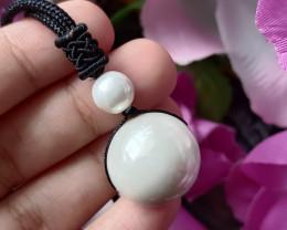 Natural Ball Mother Pearl Handmade Pendant 100% Natural Unheated