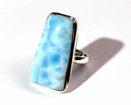 Exquisite Natural Sky Blue Larimar .925 Sterling Silver Ring #7.5