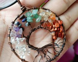 Natural Beautiful 7 Type Gemstone Tree Handmade Pendant Antique Design