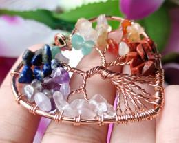 Natural 7 Type of Gemstone Hand Craft  Heart Pendant Antique Design