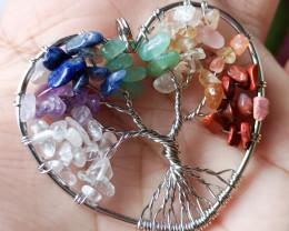 Natural 7 Type of Gemstone Hand Craft  Heart Pendant 100% Unheated