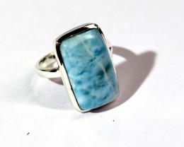 Beautiful Natural Sky Blue Larimar .925 Sterling Silver Ring #8 ½