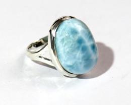 Splendid Natural Sky Blue Larimar .925 Sterling Silver Ring #7.5