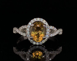 Top class fancy Natural Heliodore ring with CZ in Silver 925