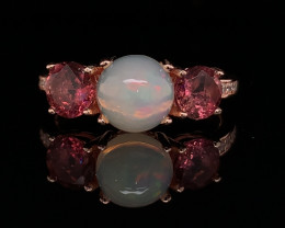 Top class Natural Tourmaline with Fire Opal ring with in Rose Gold plated S