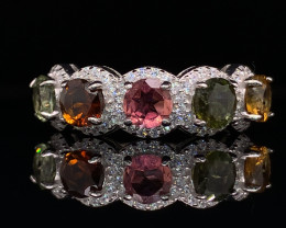 Attractive Natural Tourmaline with CZ  Transparent    925 Silver ring