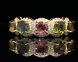 Attractive Natural Fancy multi color Tourmaline with CZ In Gold plated silv