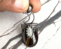 Genuine Tiger Eye With Opal **Handcraft Antique Half-moon Turkey Design**
