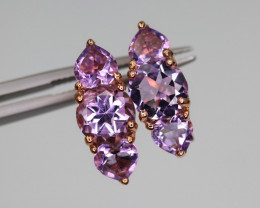 Gorgeous Natural Amethyst & 925 Fancy Rose Gold Sterling Silver Earring