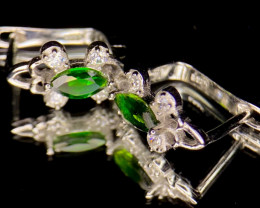 ~NR~Gorgeous Chrome Diopside Silver 925 Earrings
