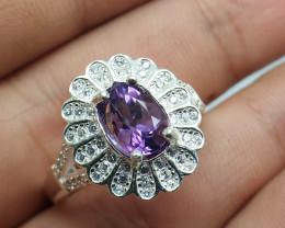 Natural Amethyst 25.30 Carats Ring   Women Ring   925 Silver Ring   Natural