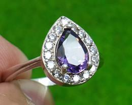 Natural Amethyst 13.70 Carats Ring   925 Silver Ring   Natural Amethyst Rin