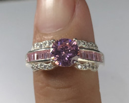 Wow Beautiful Unique Color Pink Zirconia  With White Zirconia in 925 Silver