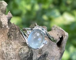 exceptional natural aquamarine cab 2.10 crt  92.5% silver ring