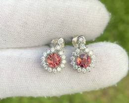 gorgeous natural pink tourmaline 1.18 crt pair with 92.5% silver