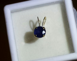 BLUE SAPPHIRE PENDANT 10 KT YELLOW GOLD - 4 PRONG SETTING