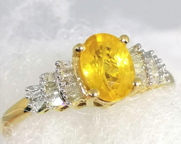 Yellow Sapphire and Diamond Ring 1.20tcw.